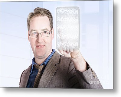 Business Man Scrolling News On Digital Touch Pad Metal Print