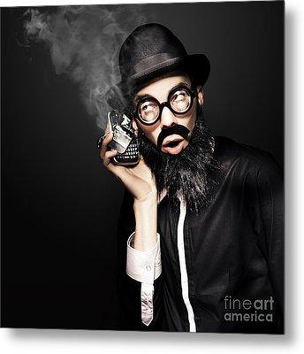 Business Man Talking On Broken Smart Mobile Phone Metal Print by Jorgo Photography - Wall Art Gallery