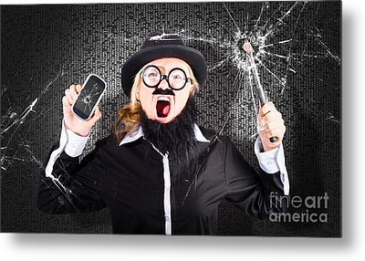 Business Man With Cracked Mobile Phone Screen Metal Print by Jorgo Photography - Wall Art Gallery