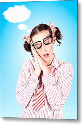Business Person Dreaming Up Relax Cloud Metal Print