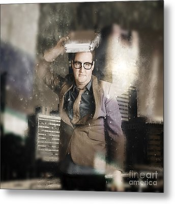 Businessman Reflecting On Morale And Ethics Metal Print by Jorgo Photography - Wall Art Gallery