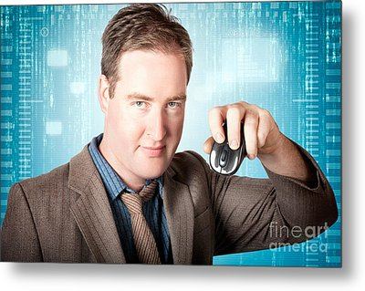 Businessman Searching Internet With Wireless Mouse Metal Print