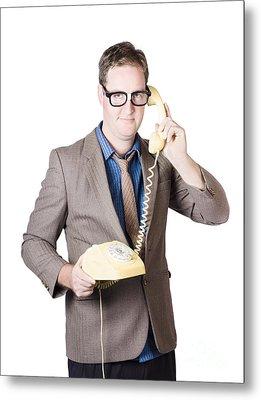 Businessman Talking On Retro Telephone Metal Print by Jorgo Photography - Wall Art Gallery