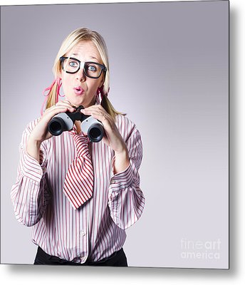 Businesswoman Planning Future Business Strategy Metal Print