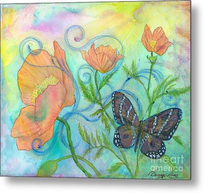 Butterfly Reclaimed Metal Print by Denise Hoag