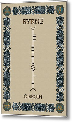 Metal Print featuring the digital art Byrne Written In Ogham by Ireland Calling
