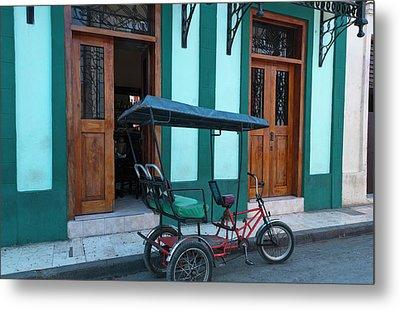 Camaquey, Cuba Street Old Bike Carriage Metal Print by Bill Bachmann