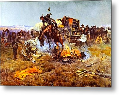 Camp Cooks Trouble Metal Print by Charles Russell