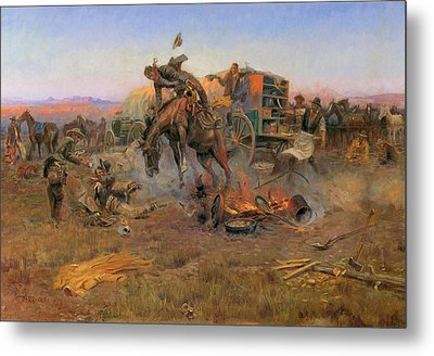Camp Cook's Troubles Metal Print by Charles M Russell