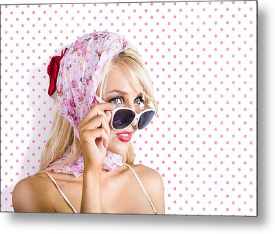 Captivating Woman Looking At Fashion Copyspace Metal Print by Jorgo Photography - Wall Art Gallery