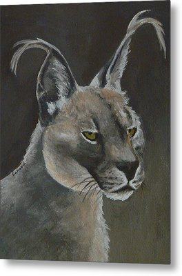Metal Print featuring the painting Caracal Cat by Margaret Saheed