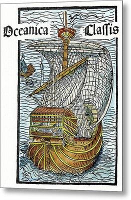 Caravel Lateen-sail, 1493 Metal Print by Granger