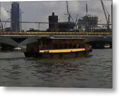 Cartoon - Colorful River Cruise Boat In Singapore Metal Print