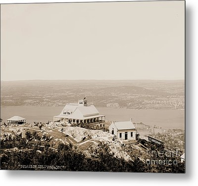 Casino At The Top Of Mt Beacon In Sepia Tone Metal Print
