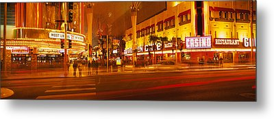 Casino Lit Up At Night, Fremont Street Metal Print