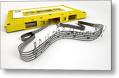Cassette Tape And Musical Notes Concept Metal Print by Allan Swart