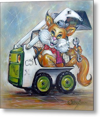 Metal Print featuring the painting Cat C5x 190312 by Selena Boron