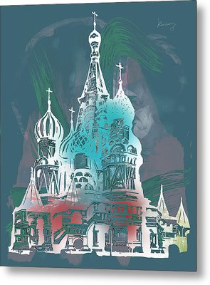 Cathedral Of St Basil  Kremlin Moscow  - Pop Stylised Art Poster  Metal Print by Kim Wang