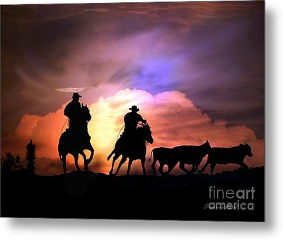Cattle Drive Metal Print by Stephanie Laird