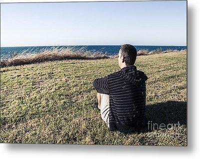 Caucasian Traveler Relaxing On Grass Outdoors Metal Print