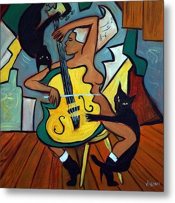 Cellist With Cats Metal Print by Valerie Vescovi