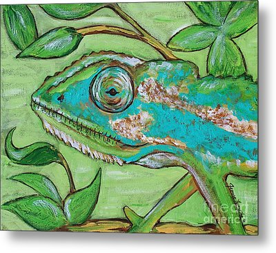 Chameleon Hitching A Ride Metal Print by Jeanne Forsythe