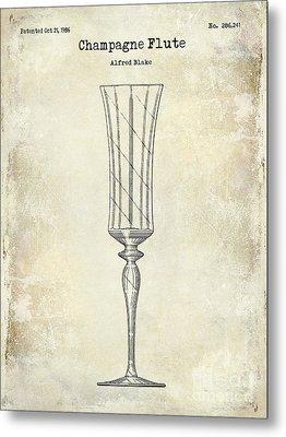 Champagne Flute Patent Drawing Metal Print by Jon Neidert