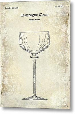 Champagne Glass Patent Drawing  Metal Print by Jon Neidert