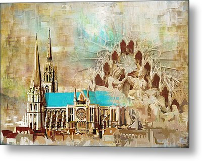 Chartres Cathedral Metal Print by Catf