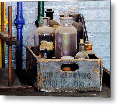 Chemist - Bottles Of Chemicals In A Wooden Box Metal Print by Susan Savad