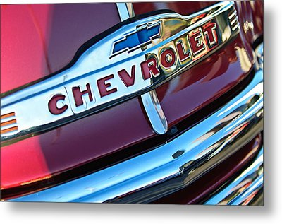 Chevrolet Pickup Truck Grille Emblem Metal Print by Jill Reger