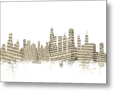 Chicago Illinois Skyline Sheet Music Cityscape Metal Print