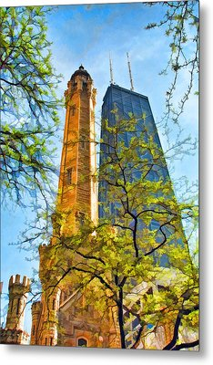 Chicago Water And Hancock Towers Metal Print by Christopher Arndt