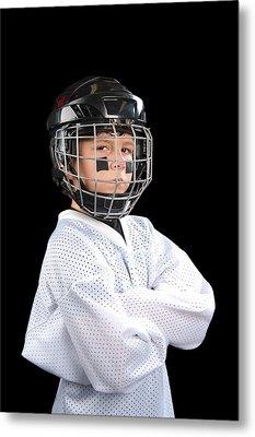 Child Hockey Player Metal Print by Joe Belanger