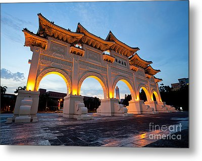 Chinese Archways On Liberty Square In Taipei Taiwan Metal Print by Fototrav Print