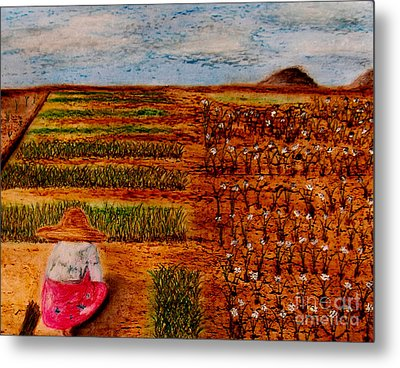 Metal Print featuring the painting Chive Harvest by Ayasha Loya