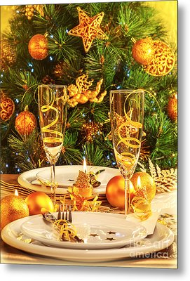 Christmas Dinner In Restaurant Metal Print by Anna Om
