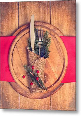Christmas Table Setting Metal Print by Amanda Elwell
