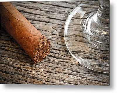 Cigar With Glass Of Brandy Or Whiskey On Wooden Background Metal Print