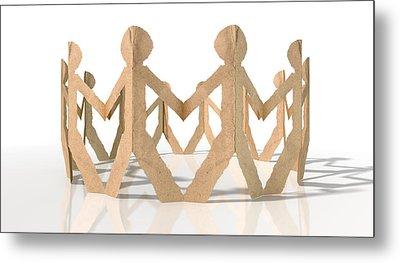 Circle Of Cutout Paper Cardboard Men Metal Print by Allan Swart
