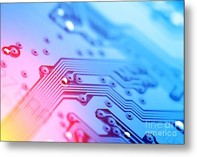 Circuit Board Abstract Metal Print by Konstantin Sutyagin
