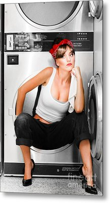 Cleaning Lady With A Dream Metal Print