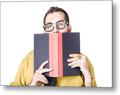 Clever Businessman With Book Of Wisdom Metal Print by Jorgo Photography - Wall Art Gallery