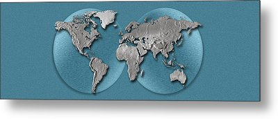 Close-up Of A World Map Metal Print by Panoramic Images