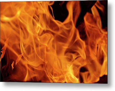 Close-up Of Fire Flames, Jodhpur, India Metal Print by Adam Jones