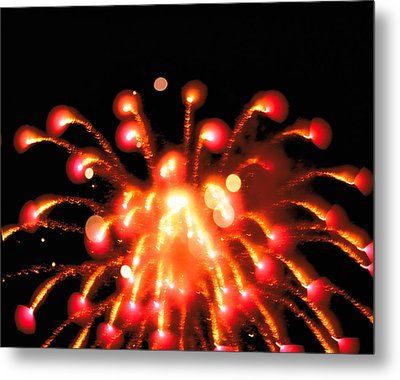 Close Up Of Ignited Fireworks Metal Print by Panoramic Images