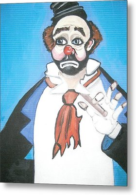 Metal Print featuring the painting Clown by Nora Shepley