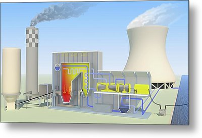 Coal-fired Power Station Metal Print by Science Photo Library