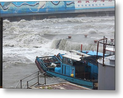 Coastal Storm Surge During Typhoon Usagi Metal Print