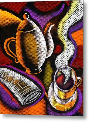 Coffee And News Metal Print by Leon Zernitsky